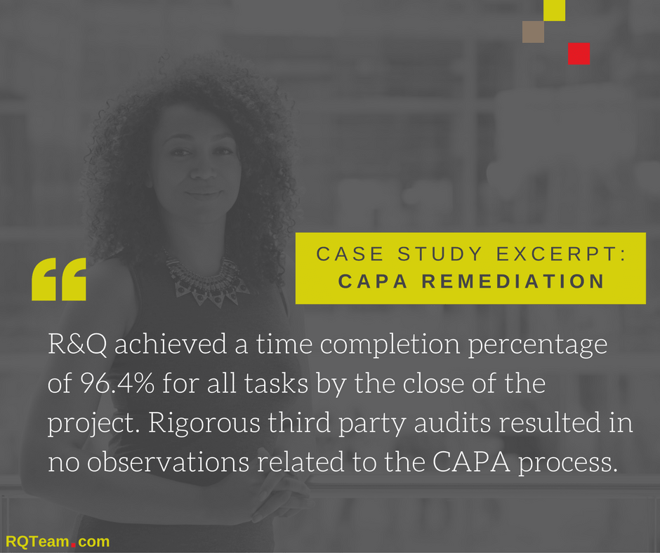 case study CAPA medical device remediation consulting