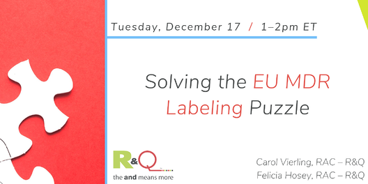 Solving the EU MDR Labeling Puzzle webinar on Tuesday, December 17